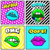set of vitage comic style lips