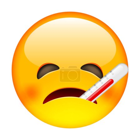 Unhappy Sick Emoticon with Thermometer