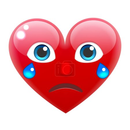 Crying Heart Emoticon with Tears, vector illustrat...