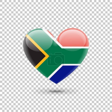 Illustration for South African Flag Heart Icon, vector illustration - Royalty Free Image