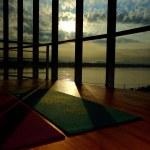 Empty wooden floor space in fitness center, Great ...