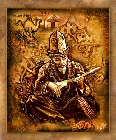 painting, asia motif, sage illustration, Kazakh singer, musical instrument, dombra, kobyz, akyn, poet, Kazakh musician, Kazakh life, traditions of the East, yurt, aul, Kazakh village, Kirghiz dwelling, sheep, kerege, torsoak, bit of the peoples