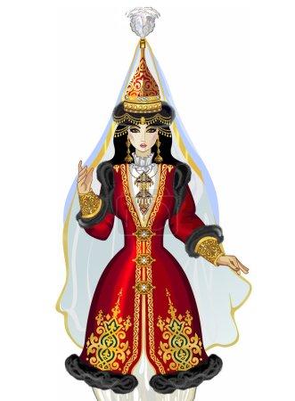 Saukele! Beautiful girl in the eastern Kazakh gold jewelry