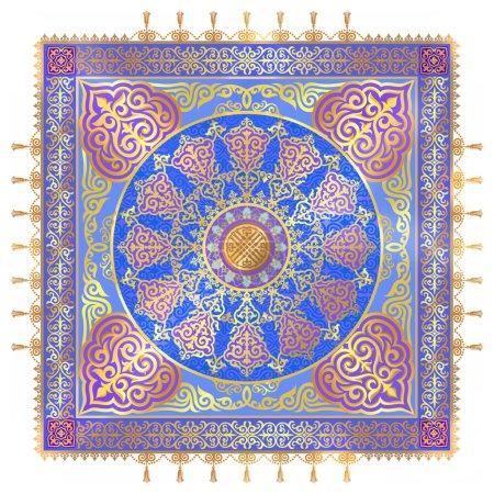 Illustration pour Magnifique écharpe kazakhe, vierge pour Eastern Textile, les éléments de l'ornement kazakh, un riche motif chic pour la production de matériaux imprimés, tissu d'impression, literie d'impression meterialy. Design intérieur de luxe, éléments décoratifs des murs et th - image libre de droit