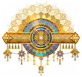 Beautiful background shanyrak interior ceiling chic golden symbols of Kazakh art yurts element