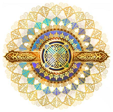 Beautiful background shanyrak interior ceiling, chic golden symbols of Kazakh art, yurts element, an element of the Kazakh tent. Shanyrak - a symbol of the eastern people, a symbol of prosperity.