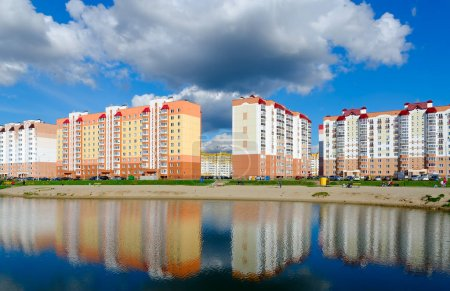 Residential buildings in recreation area with cascade of lakes, Gomel, Belarus