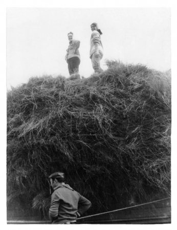 Students of institute on cleaning and loading of flax in collective farm (vintage photo 1988), Belarus