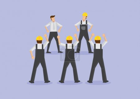 Angry Workers on Strike Vector Illustration