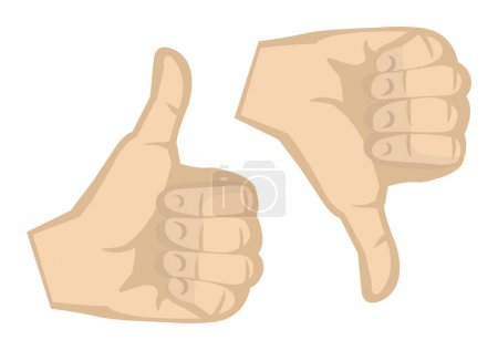Illustration pour Pouces vers le haut et pouces vers le bas geste de la main isolé sur fond blanc . - image libre de droit