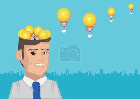Illustration pour Ampoules incandescentes sortant de la tête ouverte et se transformant en montgolfières volantes. Illustration vectorielle conceptuelle pour idées et inspirations prenant son envol - image libre de droit