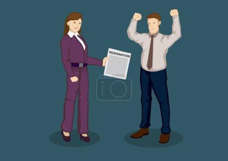 Illustration pour Une dirigeante d'entreprise énervée remet une lettre de démission de l'employeur en colère. Illustration vectorielle de bande dessinée sur la démission d'emploi sur des termes concept isolé sur fond vert . - image libre de droit