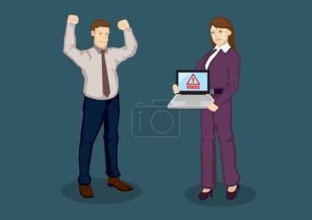 Illustration pour Employeur en colère contre travailleur bouleversé dont l'ordinateur portable est infecté par un virus informatique. Illustration vectorielle de bande dessinée pour la sécurité web pour concept d'entreprise isolé sur fond vert . - image libre de droit