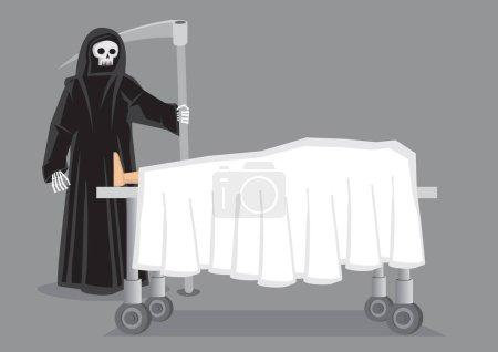 Illustration pour Figure squelettique en manteau à capuchon noir portant une faux debout à côté d'un cadavre drapé en drap blanc sur un lit à roues. Illustration de dessin animé vectoriel créatif sur le concept de mort isolé sur fond gris . - image libre de droit
