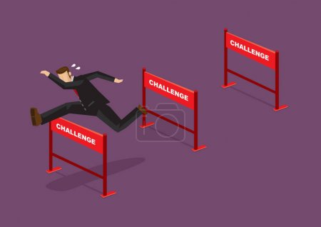 Illustration for Businessman jumping over series of hurdles with text Challenge on them. Vector cartoon illustration for concept on overcoming challenges. - Royalty Free Image