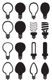 Light Bulb Black and White Vector Icon Set