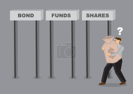 Business man deciding where to invest his money in. Business asset allocation concept. Investment wealth illustration.