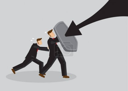 Illustration for Business concept vector illustration of a businessmen holding a shield and protect themselves from danger. Concept of protecting from the danger of financial world. - Royalty Free Image