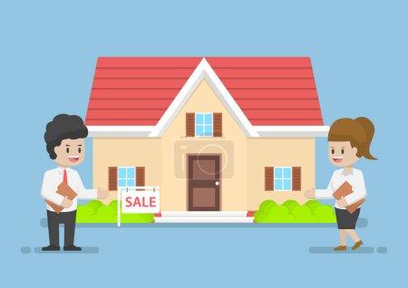 Illustration pour Homme d'affaires et femme d'affaires Présentant la maison à vendre, concept d'affaires d'agent immobilier - image libre de droit