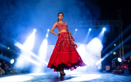 Photo for A model walks the runway wearing designer ethnic Spring collection at Fashion show in New Delhi, India, December 2020 - Royalty Free Image