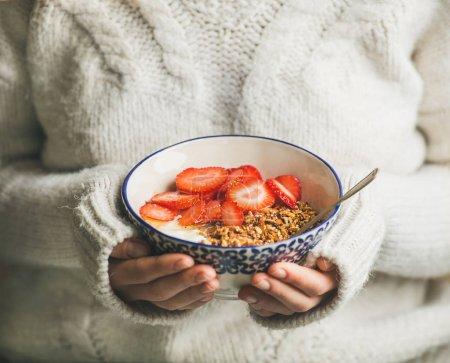 Healthy breakfast  in hands