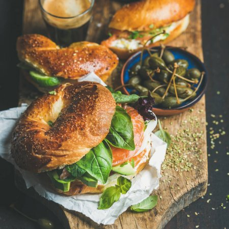 Breakfast with bagels with salmon