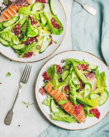 spring salad on plates