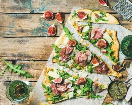 Homemade sage flatbread pizza