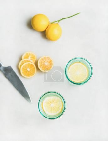 Detox lemon water in glasses