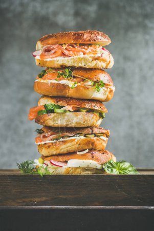 Bagels heap with salmon