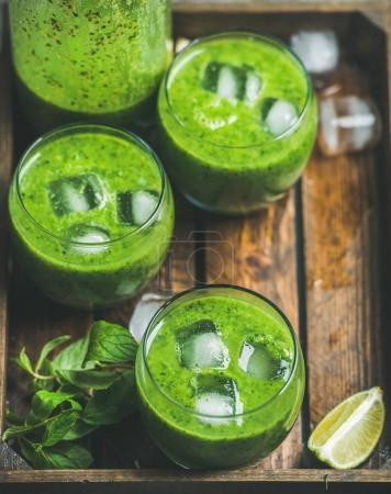 Fresh green smoothie  in glasses