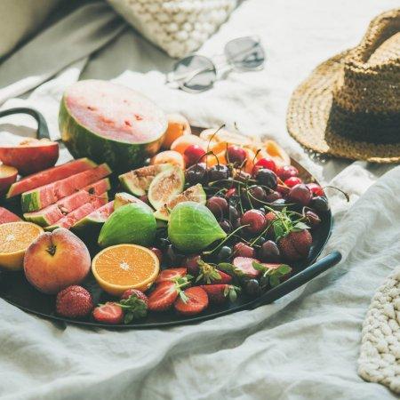 Tray full of fruits