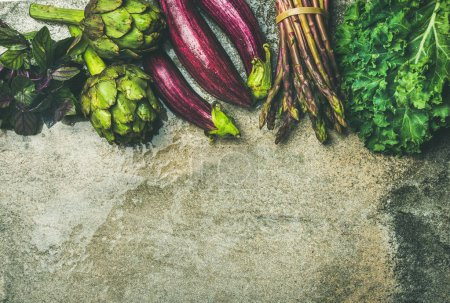 fresh green and purple vegetables