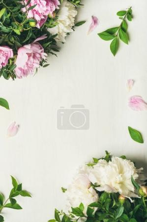 Photo for Spring floral layout with flowers. pale pink and white peonies over white background, top view, copy space. Womens day, Valentines or lovers day greeting card or wedding invitation - Royalty Free Image