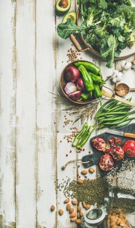 Photo for Winter vegetarian, vegan food cooking ingredients. - Royalty Free Image