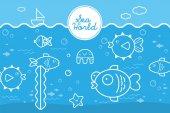 Undersea: Cartoon illustration of underwater world with fishes