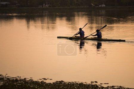 Chiang rai, Thailand, March 2018: the man training kayak sails i