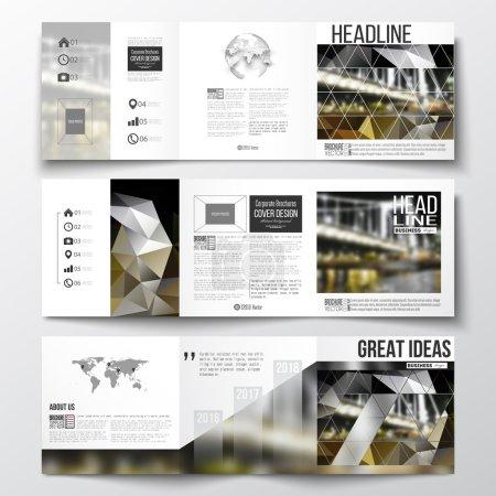 Photo pour Ensemble vectoriel de brochures triples, modèles carrés avec élément de carte du monde et globe. Fond polygonal coloré, image floue, paysage nocturne, texture vectorielle triangulaire moderne . - image libre de droit