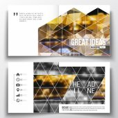 Set of square design brochure template. Colorful polygonal background, blurred image, night city landscape, modern stylish triangular vector texture