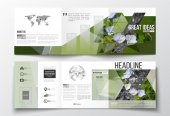 Vector set of tri-fold brochures square design templates Polygonal floral background blurred image blue flowers in green grass closeup modern triangular texture
