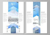 Blog graphic business templates Page website design template vector layout Blue color abstract infographic background in minimalist style made from lines symbols charts other elements