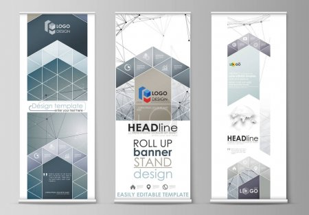 Roll up banner stands, abstract geometric design, business concept, corporate vertical vector flyers, flag layouts. DNA and neurons molecule structure. Medicine, science concept. Scalable graphic.