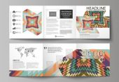 Set of business templates for tri fold square design brochures Leaflet cover abstract vector layout Tribal pattern geometrical ornament in ethno syle ethnic backdrop vintage fashion background