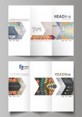 Tri-fold brochure business templates on both sides Abstract vector layout in flat design Tribal pattern geometrical ornament in ethno syle ethnic hipster backdrop vintage fashion background