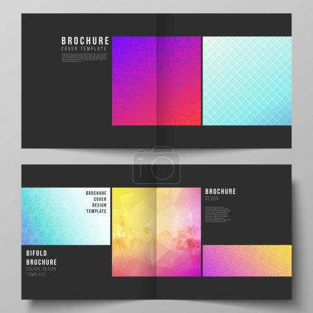 Illustration for The vector illustration of editable layout of two covers templates for square design bifold brochure, magazine, flyer, booklet. Abstract geometric pattern with colorful gradient business background. - Royalty Free Image