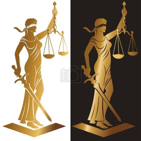 Illustration pour Dame Justice. Thèmes. Illustration vectorielle silhouette de la statue Themis tenant balance et épée isolée sur fond blanc. Symbole de justice, de loi et d'ordre . - image libre de droit