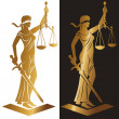 Lady justice. Themis. Vector illustration silhouet...