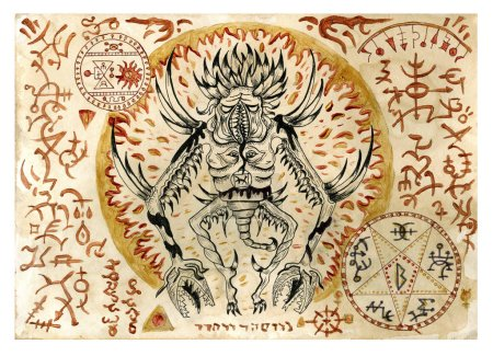 Photo for Mystic illustration with evil demon and black magic symbols on old manuscript. Occult and esoteric illustrations. There is no foreign text in the image, all symbols are imaginary and fantasy ones - Royalty Free Image