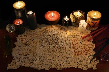 Black magic ritual with demon