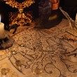 Close up of demon parchment and candles...